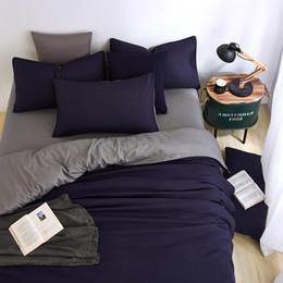 Nouveaux ensembles de literie minimaliste d'été couleur bleu d'encre Duver housse de couette drap de lit taie d'oreiller gris doux confortable roi Queen complet ? partir de fabricateur