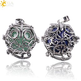 silver jade for men Promo Codes - CSJA Vintage Silver Openable Locket Charm Necklace Pendants Owl Bird Cage Round Natural Stone Bead Ball Jewelry for Men Women Gift E683