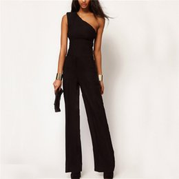 3dd90d30953 2018 Womens Off One Shoulder Jumpsuit Romper Black OL Workwear Sexy  Sleeveless Long Pant Playsuit Femme Casual Overall Trouser