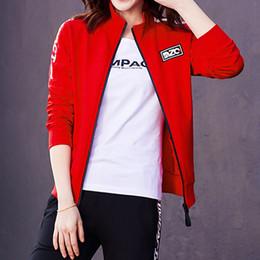 Wholesale Plus Size Girls Uniforms - Hot sale Sport Suits Women 2018 Sportswear T Shirt + Coat + Pants 3 Piece Set Female Plus Size Tracksuits Sets Girl School Uniforms Clothing