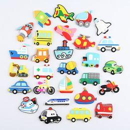 Wholesale Animal Car Magnets - 27pcs lot Cartoon Car Plane Ship Fridge Magnet Kid Early Education Bear Animal Magnetic Key Hook For Kids Phone Case Resin Figure Sticker