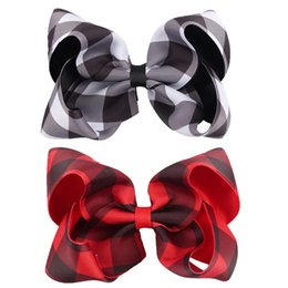 Canada Bébé 5 pouces ruban de gros-grain à carreaux bowknot épingles à cheveux filles cadeau de noël barrettes accessoires de cheveux arcs bulle enfants coiffe pince à cheveux supplier bow ribbon for gift Offre