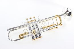 LT180S - 72 Trompeta B Plana Durable Bb Trompeta de Bronce Exquisita Tallada Con Boquilla Plateada de Plata Con Guantes Caja de Correa Ajustable Trompeta desde fabricantes