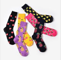painting for lovers Coupons - New 2018 Spring New lovers Retro sock Art Abstract Oil Painting Colored fruit pineapple cherry Design Socks for Wedding Gift