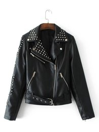 Wholesale Sewing Pearl Buttons - Leather Jacket 2018 New Womens Fashion Rivet Jacket Casual Moto Black Biker Coat Tops Outerwear