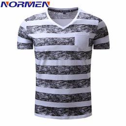 Wholesale Striped Plus Size Tee Shirts - Normen Men 'S T -Shirts Fashion Striped V -Neck Cotton Eur Size Top Grade Tee Shirt Men Hip Hop Streetwear Plus Size T Shirt Men