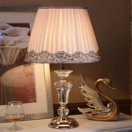 Online Moderne Kristall Nachttischlampen Kaufen Europäische Moderne  Wohnzimmer Tischlampen Schlafzimmer Studie Tuch Kunst Kristall Tischlampe