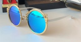 Wholesale Baroque Round Sunglasses - Luxury 2177 Sunglasses For Women Brand Designer Baroque Style Round Frame Sunglasses Popular Designer Gold Plated Full Metal Frame With Case