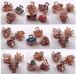 Diamantes de imitación de lujo online-Clips de garra de pelo de lujo para niñas / damas Lote mixto Rhinestone lleno Oro Claw Pins Head Piece