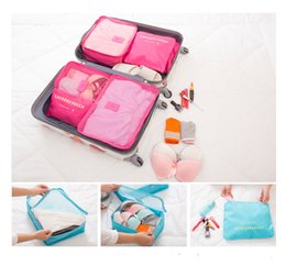 Wholesale Bedding Packs - 6pcs set Fashion Underwear Socks Storage Bags Waterproof Polyester Men and Women Luggage Travel Bags Packing Cubes 8 Colors