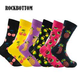 Размер ананаса онлайн-Rockbottom 1 Пара Новый Осень Зима Большой Размер Носки Лимон Ананас Вишня Красочные Фрукты Мода Длинные Хлопок Мужские Носки