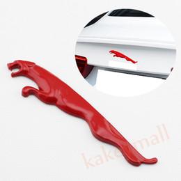 Wholesale Metal Car Emblems - Red Color Car Badge Metal Decal Sticker Trim For Jaguar Emblem Logo Accessories