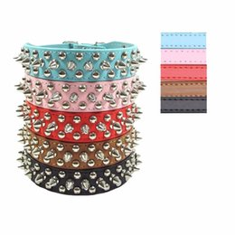 Wholesale Large Spikes - 20PCS Pets Puppy Dog Collars Adjustable PU Leather Punk Rivet Spiked Studded Collar Neck Straps Hot Sale