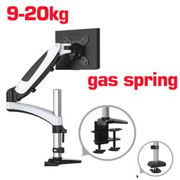 "Зажим для экрана онлайн-Aluminum 27"" 9-20kg 360 rotate 2 arm clamp grommet gas spring gas strut lcd tv table mount monitor screen desktop mount bracket"