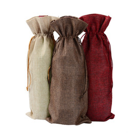 Wholesale Gift Packaging - New Jute Wine Bags Champagne Wine Bottle Covers Gift Pouch burlap Packaging bag Wedding Party Decoration Wine Bags Drawstring cover