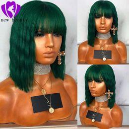 Perucas verdes curtas on-line-Moda ondulado escuro verde sintético curto rendas frente perucas com franja para as mulheres 150 densidade Natural brasileiro do cabelo Full lace frente perucas