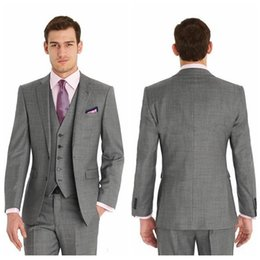 Wholesale Cheap Formal Jackets Men - Vintage Cheap Slim Fit Two Buttons Formal Best Man Wedding Suits Groom Tuxedos Gray Classic Wedding Tuxedos (Jacket+Pants+Tie+Vest)