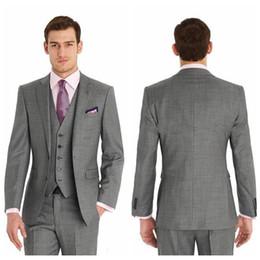 Wholesale Cheap Men Tuxedo Pants - Vintage Cheap Slim Fit Two Buttons Formal Best Man Wedding Suits Groom Tuxedos Gray Classic Wedding Tuxedos (Jacket+Pants+Tie+Vest)