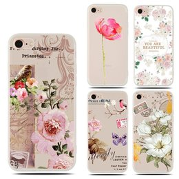 Wholesale iphone floral cases - For Apple iphone X 8 plus 7 plus 6S TPU Frosted transparent Embossed Floral case TPU Clear cell phone cases