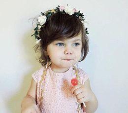 Wholesale hand made hair accessories - Baby Headband Garlands Hand Made DIY Beach Flower Wedding Hairbands Kids Fashion princess Floral Hair Sticks Children Hair Accessories KGA02
