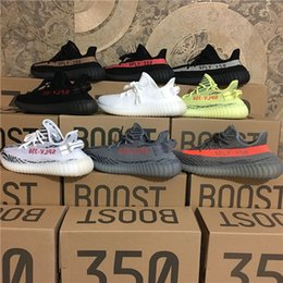 Wholesale V3 Black - 2018 SPLY-350 Boost V2 v3 New Kanye West Boost 350 V2 SPLY Running Shoes Grey Orange Stripes Zebra Bred Black Red LOTS Color