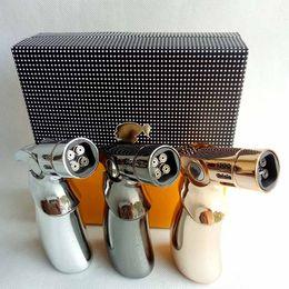 cohiba geschenke Rabatt 4 Fackeln COHIBA Jet Flame Turbo Fackel Grill aufblasbar Butan Zigarette Zigarre winddicht Outdoor Feuerzeuge NO Gas mit Geschenkbox