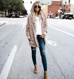 Argentina Ropa de mujer Chaqueta de piel sintética de invierno Suelto Moda Abrigo con capucha Bolsillo grande de abrigo suave y cálido Más el tamaño 4XL 5XL Suministro