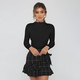 Camisa larga delgada negra para mujer online-Moda para mujer de manga larga camisetas delgadas Tops para damas otoño invierno negro Tight Undershirt Tees camisas envío de la gota