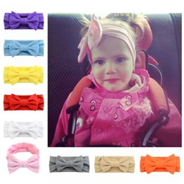 Wholesale Knotted Turban Style Headbands - 12pcs Set New Bow Hairband Knot Tie Headwrap Kids Bandanas Turban Stretchy Girls Hair Accessories Summer Style 748