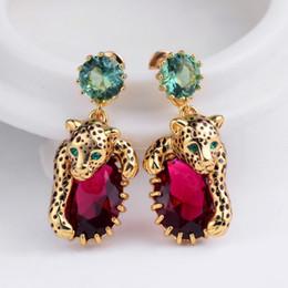 O anillo de collar online-Amybaby 2018 hecho a mano esmaltado esmalte pantera leopardo rojo Sone para mujer collar pendiente de la gota ajustable anillo joyería para partido