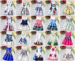 Wholesale Korean Style For Summer - New Girls Dress Princess Girls Retro Pattern Dress Korean Girls Clothing 32 Styles For 4~12 Y