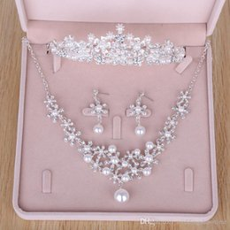 Wholesale Cheap Stones For Rings - Rhinestones Pearls Wedding Bridal Jewelry Cheap Bridal Jewelry Set 2017 Bridesmaid Crystal Jewelry For Party Necklace2