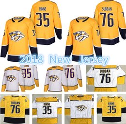 Wholesale Jersey 76 - 2018 New Nashville Predators Hockey Jerseys Men's #76 P.K. Subban 35 Pekka Rinne Jersey High quality Free Shipping