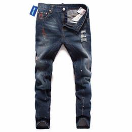 2019 stil berühmte marke baumwolle männer 2018 Berühmte Marke Gehobenen Baumwolle Männer Jeans Designer Hosen Europäischen und Amerikanischen Hochwertigen Casual Style Hose Männliche Jeans Männer günstig stil berühmte marke baumwolle männer