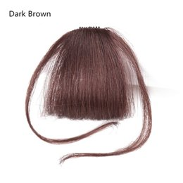 Wholesale hair bangs pieces - Fashion Beautful Neat Front False Fringe Clip In Bangs Hairpiece With High Temperature Synthetic Hair Piece Hairpiece