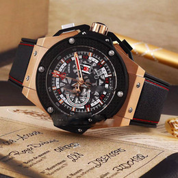 Wholesale 48mm mens watches - Luxury Brand New Rose Gold Big Size 48mm Royal World Cup Skeleton Dial Miyota Quartz Chronograph Mens Watch Stopwatch Watches Rubber HUB16