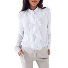 Camicetta con colletto e più taglia online-OL Style Winter Fashion stand colletto a maniche lunghe camicia femminile ufficio formale elegante ruches camicetta da donna plus size top # 30