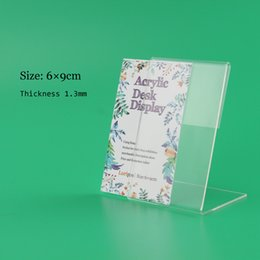 Wholesale Price Listing - Wholesale-60*90MM 50 pcs acrylic desk table tablet stands sign clip name card showing stand price list label menu tag holder stand