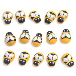 Wholesale Nursery Toys - 1000pcs Lot Mini Bee Wooden Ladybug Sponge Self-adhesive Stickers Fridge Wall Sticker Kids Scrapbooking Baby Toys Home Decoration