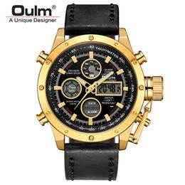 oulm gold Rebajas Oulm Relojes de lujo Relojes para hombre Marca de fábrica superior Reloj deportivo Waterpoorf Correa de cuero Reloj de pulsera dorado masculino Relogio masculino