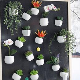 2019 vasi da parete Simulato Bouquet Flower Fridge Sticker Pianta grassa Magnete del frigorifero Magnetico Pianta in vaso Decorazione della parete della casa OOA5858 vasi da parete economici