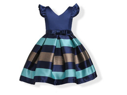 Wholesale Satin Dress Sashes - Girl Dress Flying Seeves Stripes in the big children princess dress European and American girls dress small