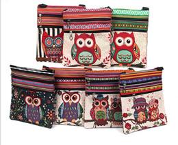 Wholesale Owl Crossbody Bags - Cute Owl Printed Canvas Crossbody Shoulder Bags Mini Female Casual Canvas Bags Owl Design Messenger Bag