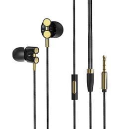 microfones de bobina móvel Desconto 3.5mm Com Fio fone de ouvido Dupla Movendo Bobina de Ouvido In-ear Heavy Bass Música Estéreo Fones De Ouvido Controle In-line com Microfone fone de ouvido