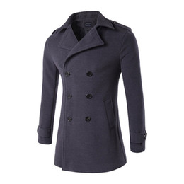 Wholesale High Collar Trench Coat - Fashion Men Slim Fit Trench High-end Winter Keep Warm Woolen Cloth Coat Male Stand Collar Pure Color Long Single-Breasted Jacket