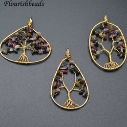 Wholesale Tourmaline Beads Necklace - Natural Tourmaline Chips Beads Wire Wrapped Life Tree Circle Pendant Fashion Energy Jewelry