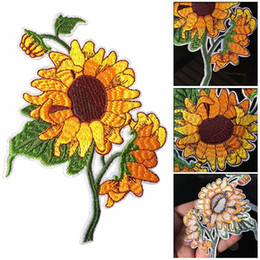 Sunflower iron on patch embroidered clothes patch for clothing garment appar ZY