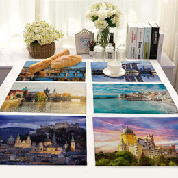 Wholesale Water Painting Photos - Painted water city print cotton linen art insulation Western pad Food photo background cloth desktop decoration