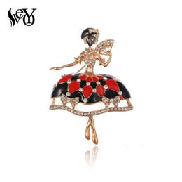 VEYO Red Ballet Dancer Strass Broschen für Frauen Mädchen Pin Up Clips Schal Hüte