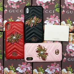 Wholesale pearl phone cases - Luxury brand 3D pearl metal double bee Leather texture phone case for iphone X 7 7plus 8 8plus hard back cover for iphone 6 6s 6plus